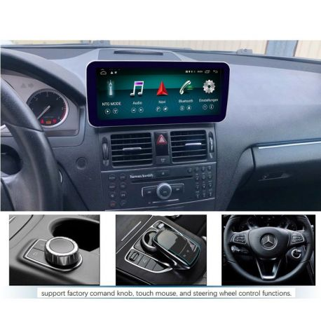 "Multimédia Android W204 com monitor 10,25"" de 2007 2008 2009 2010 GPS USB Bluetooth NTG 4.0"